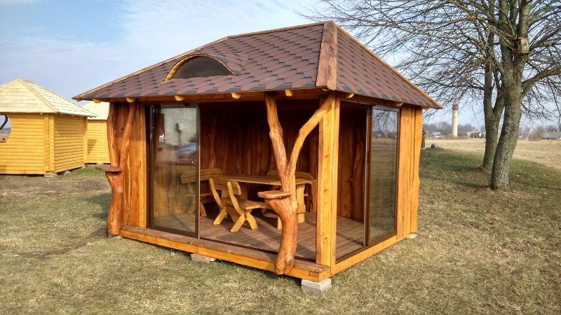 UAB LAUKBALDIS mediniai lauko baldai, pavesines, pirtys, nameliai ir kt.
