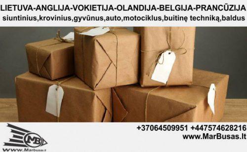 Krovinių, siuntų, motociklų, automobilių gabenimas į/iš Lietuvos, Anglijos, Vokietijos, Olandijos,Belgijos