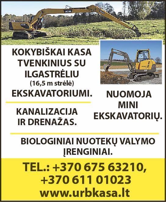 Tvenkinių kasimas,mini ekskavatoriaus nuoma,kanalizacija,drenažas,biologinai nuotekų įrengimai. 37067563210
