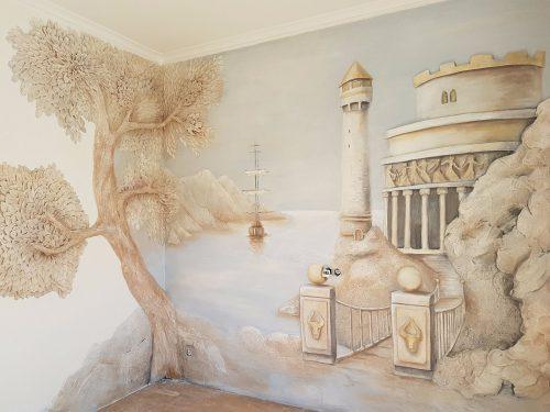 Sienų dekoravimas- tapyba, bareljefai