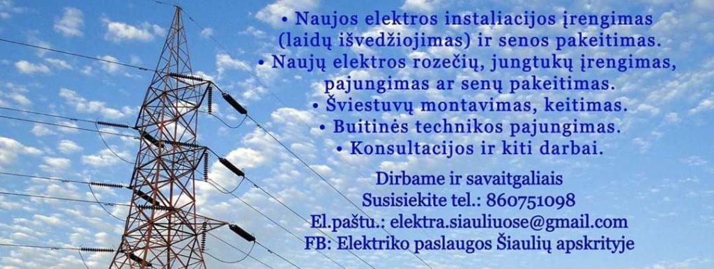 Smulkūs elektros darbai Šiaulių apskrityje