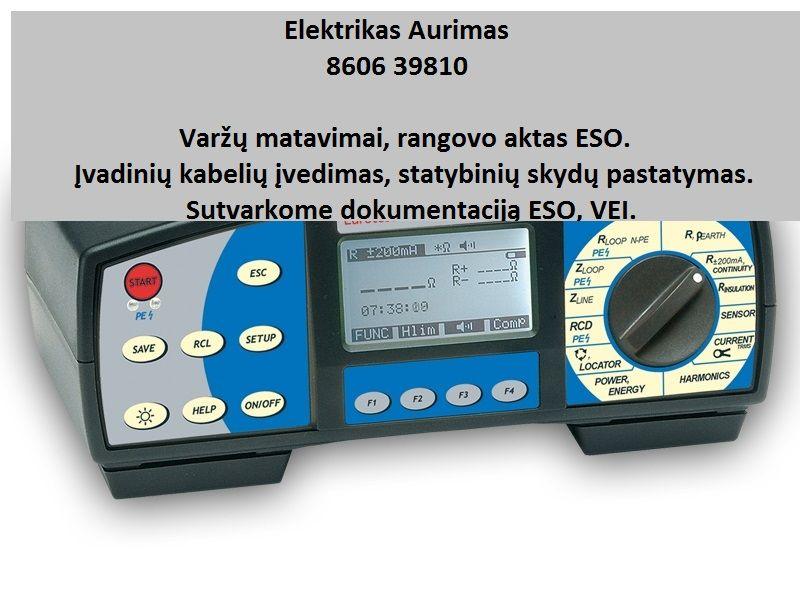 Varžų matavimai, Elektros įvadai, rangovo aktas ESO
