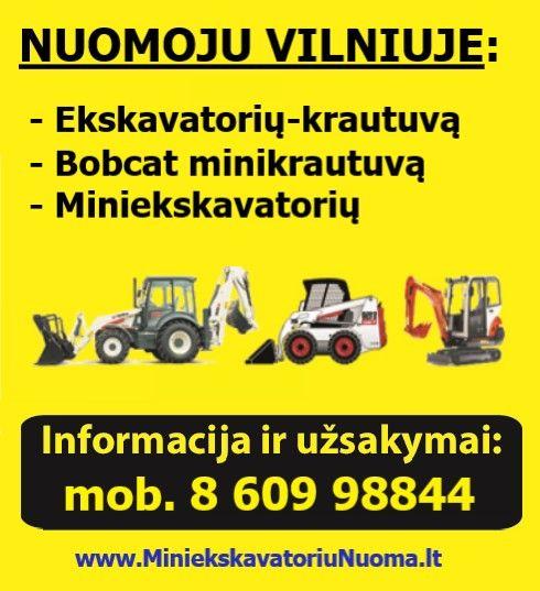 Mini ekskavatoriaus nuoma Vilniuje,