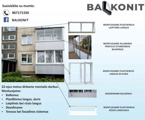 Montuojame aliuminio profilio stumdomus balkonus, plastikinius langus, skardiname.