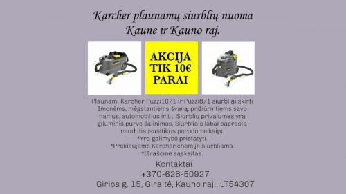 Karcher plaunamo siurblio nuoma Kaune ir Kauno raj. Kaunas